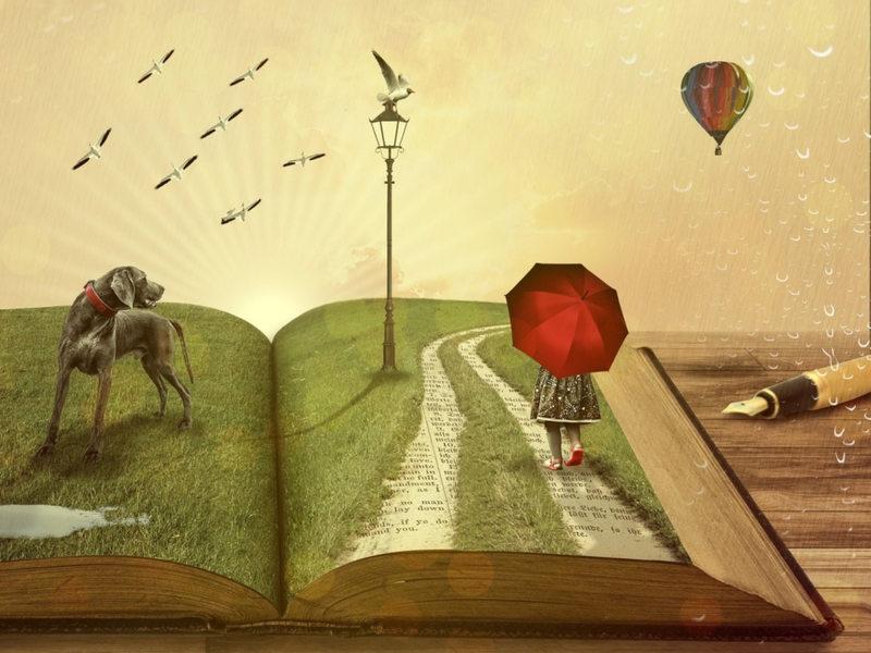 livre ouvert avec personnage